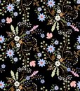 Spring seamless floral pattern with stylized flowers and leaves in folk style on black background in vector