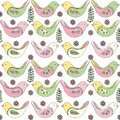 Spring seamless pattern of multicolored birds on a white background
