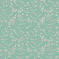 Spring seamless pattern with plants and flowers
