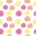 Spring seamless pattern - yellow, pink, orange flower sketch for fashion illustration, printing, poster, banner, notebook, textile