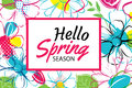 Spring season banner template background with colorful flower.Ca