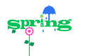 Spring showers illustration of the word with raindrops sunshine and blooming flowers Stock Photos