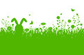 Spring silhouette illustration with abstract grass, flowers and