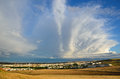The spring sky above the spanish plain huge cumulus cloud is towering in blue Royalty Free Stock Images