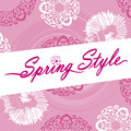 Spring style logo pink ornate flower swirls this is a with background and swirling designs with a fun dotting the letter i Stock Images