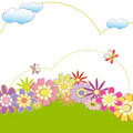 Spring summer colorful floral greeting card Stock Photos