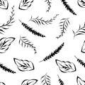 Monochrome foliage seamless printable pattern Royalty Free Stock Photo