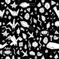 Spring Summer geometric seamless pattern with animals and plants, black contours decorative contemporary elements Stylized origami