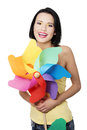Spring summer girl with color windmill toy and colorful make up Stock Images