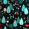Spring or summer pattern with fox, birds, flowers, and trees. Cute magic forest background