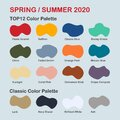 Spring / Summer 2020 trendy color palette. Fashion color trend