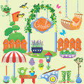 Spring and summer village and garden set with flowers agriculture tools equpment Royalty Free Stock Images