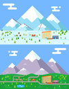 Spring summer winter seasons mountain village hotel resort holidays bus shop funicular flat design vector illustration