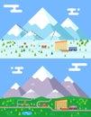 Spring summer winter seasons mountain village hotel resort holidays bus shop funicular flat design vector illustration