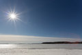 The spring sun in the afternoon over the lake covered with ice Royalty Free Stock Photo