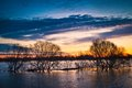 Spring sunset on the river flood of oka russia Stock Photography