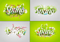 Spring text letter vector illustration.