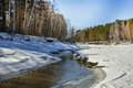 Spring thaw of the river russia siberia novosibirsk area split Stock Photography
