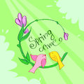 Spring Time Green Flower Banner Birds Royalty Free Stock Photo