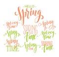 Spring Time, Hello Spring lettering set. Vector illustration