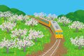 Spring train eps illustration of which running in nature this illustration contains transparency effect transparency effect are Stock Photography