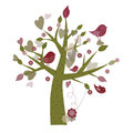 Spring tree a cute illustration of hearts and birds Stock Photography