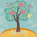 Spring tree with flowers and birds Royalty Free Stock Photo