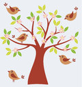 Spring tree vector illustration of with cute birds Stock Images