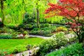 Spring trees and colorful flowers in a garden