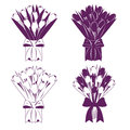 Spring tulip bouquet silhouette in paper cutting style Royalty Free Stock Photos