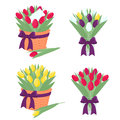Spring tulip bouquet silhouette vector illustration Stock Images