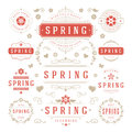 Spring Typographic Design Set. Retro and Vintage Style Templates. Royalty Free Stock Photo