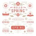 Spring Typographic Design Set. Retro and Vintage Style Templates. Royalty Free Stock Photo