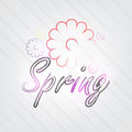 Spring typography background in retro style with flowers and label Royalty Free Stock Image