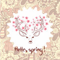 Spring vector illustration. Beautiful deer with watercolor flowers.