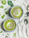 Spring vegan broccoli cream soup with mint and coconut cream Royalty Free Stock Photo