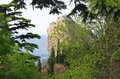 Spring view of rock  (Crimea, Ukraine) Royalty Free Stock Images