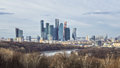 Spring view from the Vorobyovy Gory Sparrow hills, observation deck, Moscow. Royalty Free Stock Photo