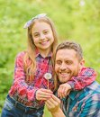 Spring village country. little girl and happy man dad. earth day. ecology. Happy family day. family summer farm Royalty Free Stock Photo