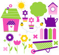 Spring village and garden set colorful with various items vector Stock Photography