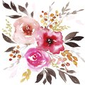 Spring watercolor abstract flowers