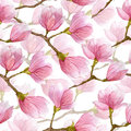 Spring watercolor magnolia seamless pattern. Hand drawn design for textile,print,wrapping paper. Royalty Free Stock Photo