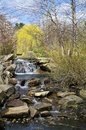 Spring waterfall a small in sayen park on a nice day in new jersey Stock Photos