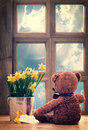 Spring window with daffodils and vintage feel Royalty Free Stock Image