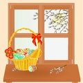 Spring window with Easter basket vector