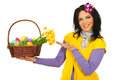 Spring woman showing Easter basket Royalty Free Stock Images