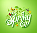 Spring word typography concept in d with flying butterflies plants vines leaves and flowers decoration green background Royalty Free Stock Photography