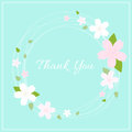 Spring wreath with cherry blossom on light green background for