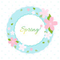 Spring wreath with cherry blossom on white background