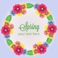 Spring wreath with colored flower